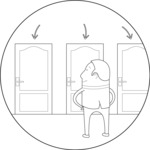 Outline Man In Front of Multiple Doors