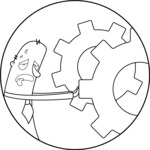 Outline Man Pushing Gear Wheels