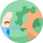 Tired Businessman Flat Illustration