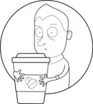 Outline Man with a Big Cup of Coffee
