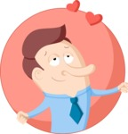 Businessman in Love Flat Illustration