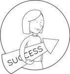 Outline Woman With a Success Arrow