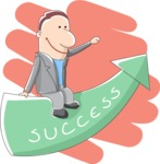 Businessman Sitting on Success Arrow