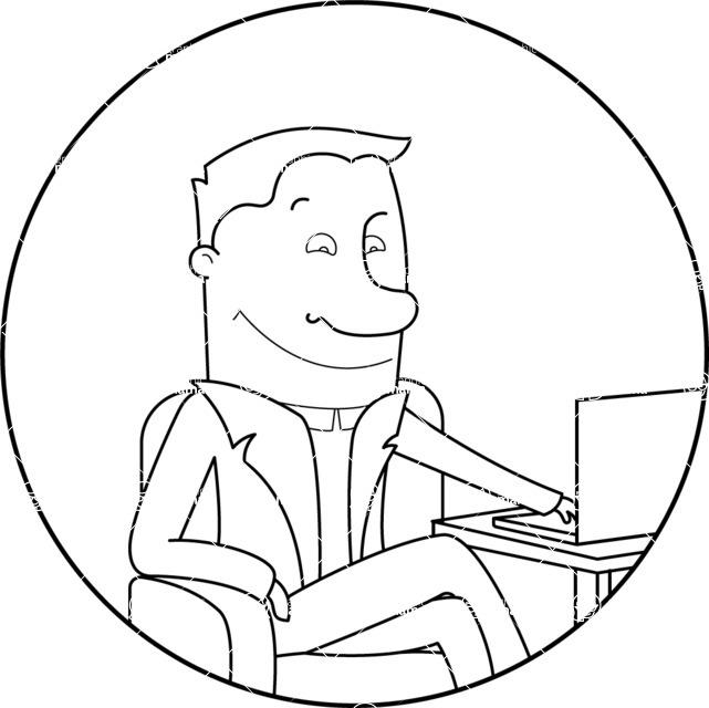 Vector Business Graphics - Mega Bundle - Outline Businessman with a Laptop