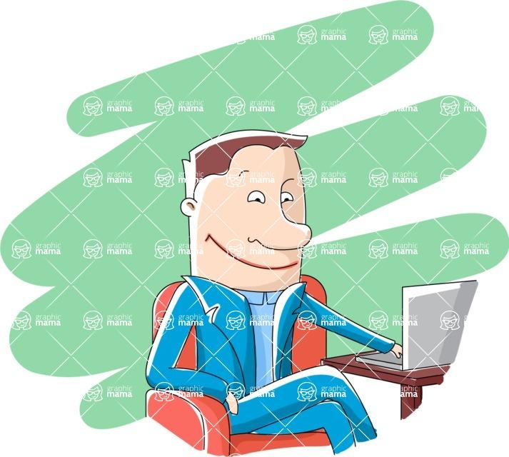 Vector Business Graphics - Mega Bundle - Businessman with a Laptop