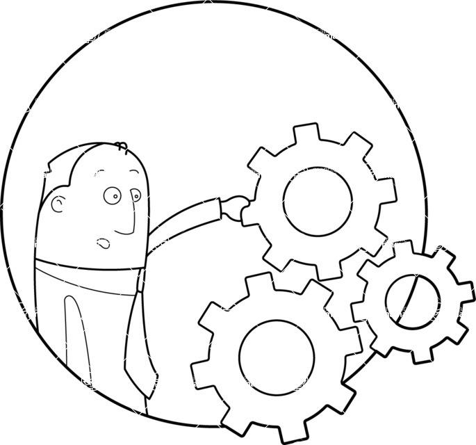 Vector Business Graphics - Mega Bundle - Businessman With Gear Wheels