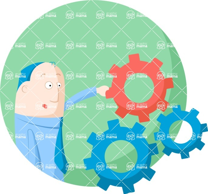 Vector Business Graphics - Mega Bundle - Businessman Touching Cogwheels Flat Illustration