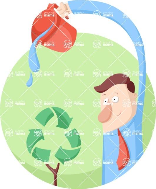 Vector Business Graphics - Mega Bundle - Businessman Watering a Recycle Plant