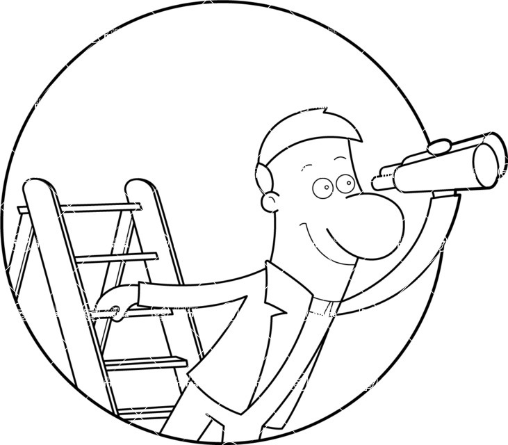 Vector Business Graphics - Mega Bundle - Outline Man Looking Through Telescope
