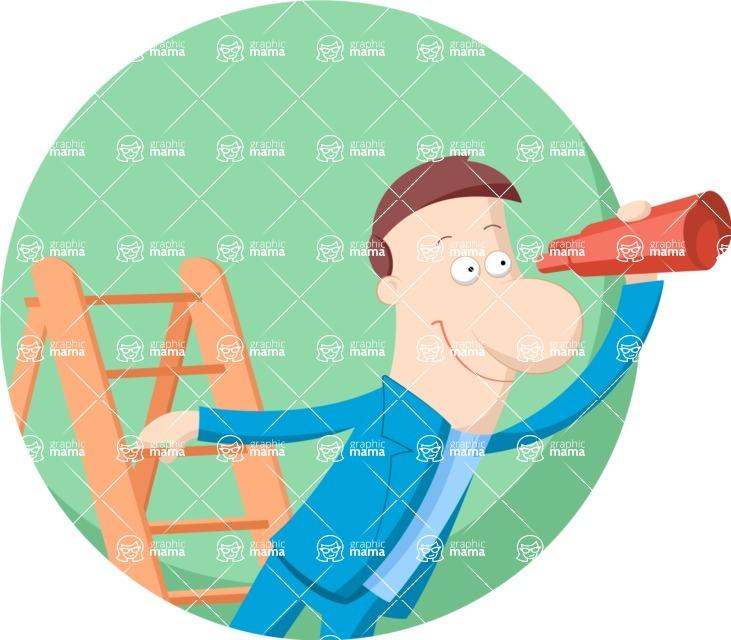 Vector Business Graphics - Mega Bundle - Businessman on a Ladder Flat Illustration