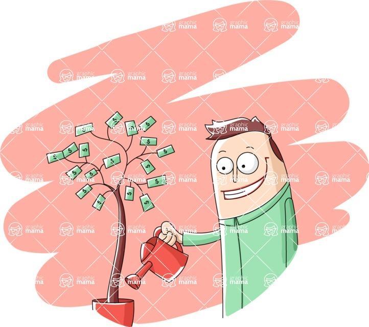 Vector Business Graphics - Mega Bundle - Happy Man Watering a Money Tree