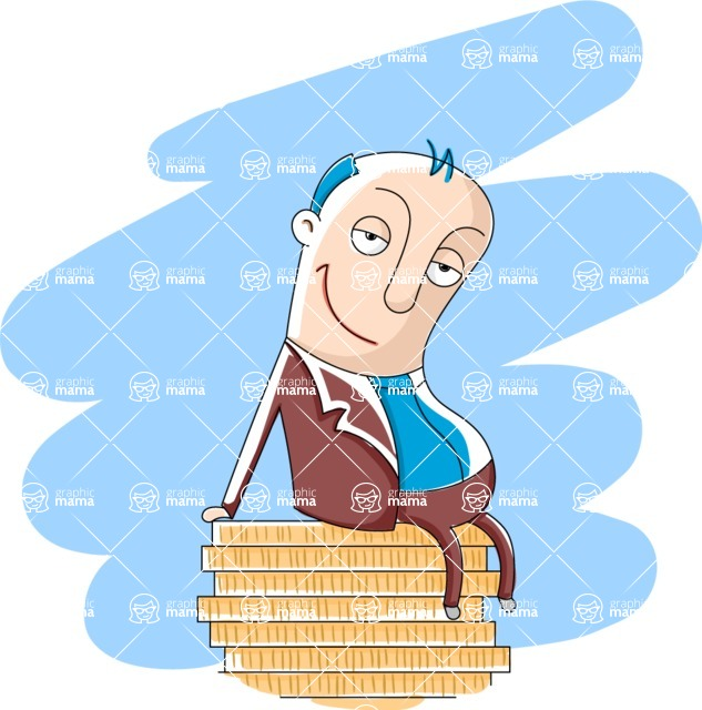 Vector Business Graphics - Mega Bundle - Fat Businessman Sitting on Money