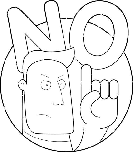 Vector Business Graphics - Mega Bundle - Man Saying No Outline Illustration