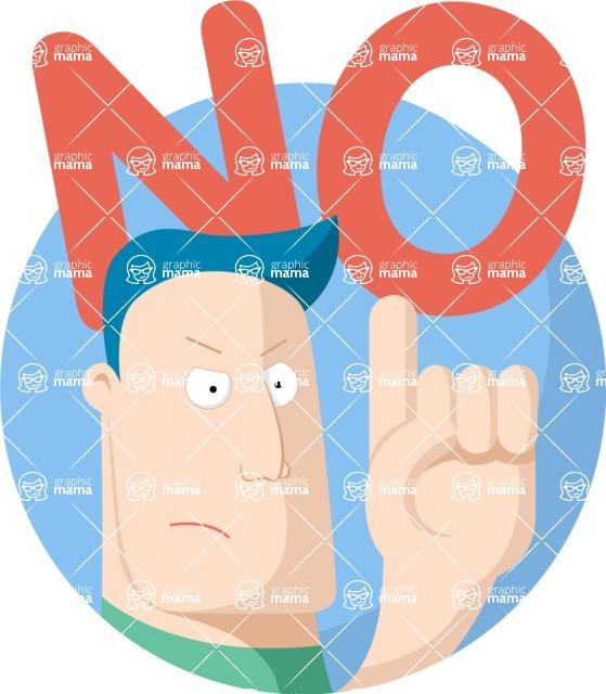 Vector Business Graphics - Mega Bundle - Flat Cartoon Man Saying No