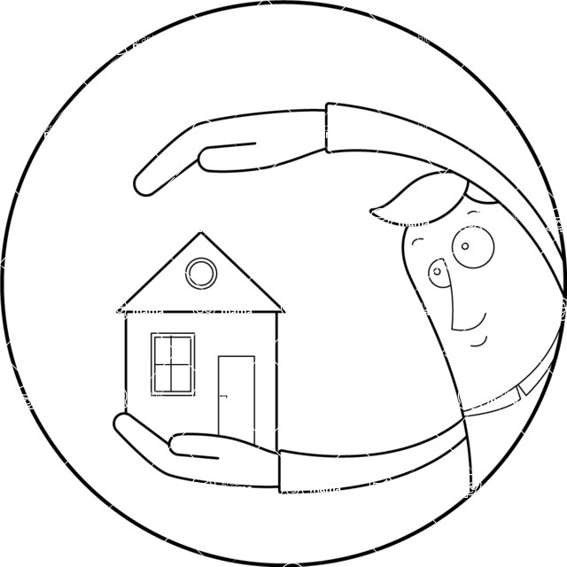 Vector Business Graphics - Mega Bundle - Outline Man Holding a House