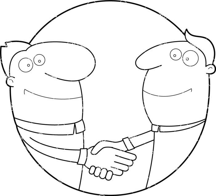 Vector Business Graphics - Mega Bundle - Outline Men Shaking Hands