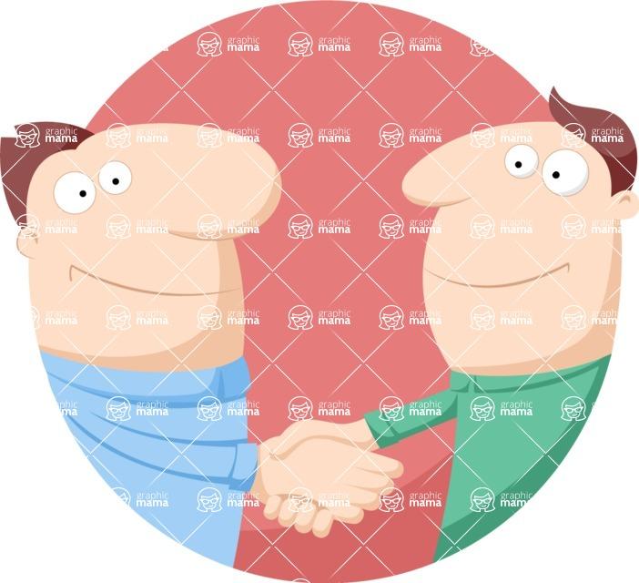 Vector Business Graphics - Mega Bundle - Men Handshaking Flat Illustration
