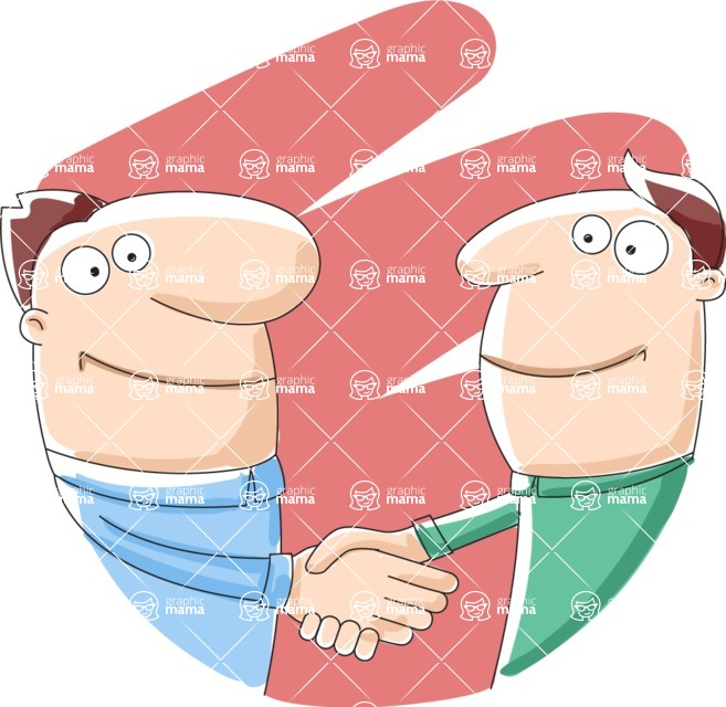 Vector Business Graphics - Mega Bundle - Cartoon Men Shaking Hands