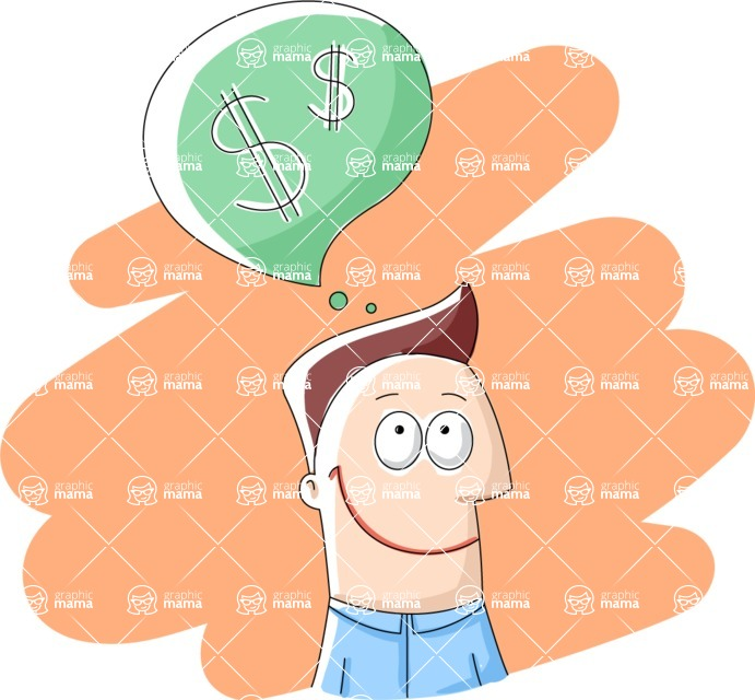 Vector Business Graphics - Mega Bundle - Businessman Thinking About Money