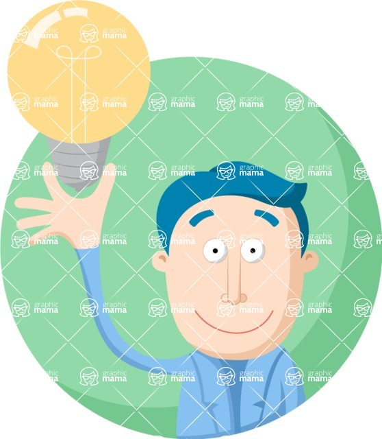 Vector Business Graphics - Mega Bundle - Man Having an Idea Flat Illustration