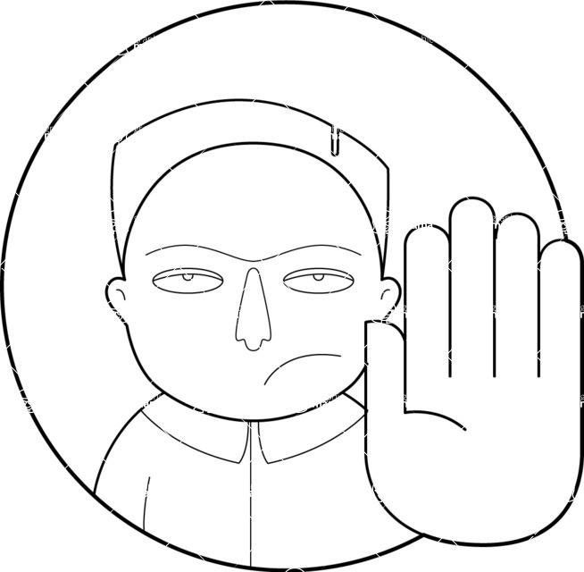 Vector Business Graphics - Mega Bundle - Outline Man Making a Stop Gesture