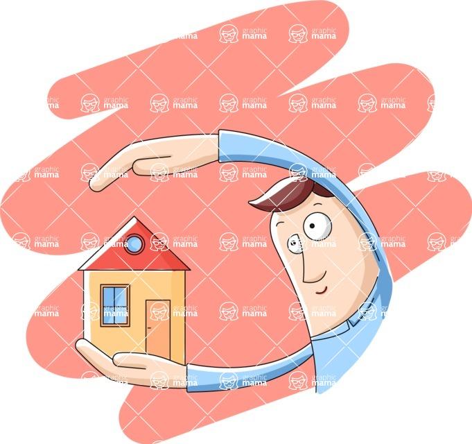 Vector Business Graphics - Mega Bundle - Man Holding a Real Estate House