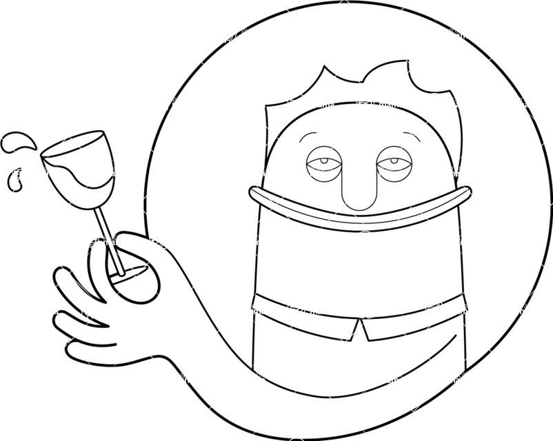 Vector Business Graphics - Mega Bundle - Outline Man Spilling Wine