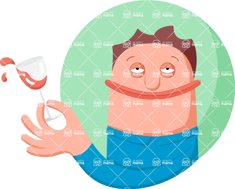 Vector Business Graphics - Mega Bundle - Man Spilling a Glass of Wine