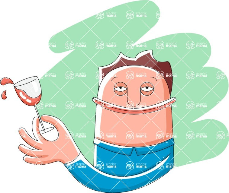 Vector Business Graphics - Mega Bundle - Man Holding a Glass of Wine