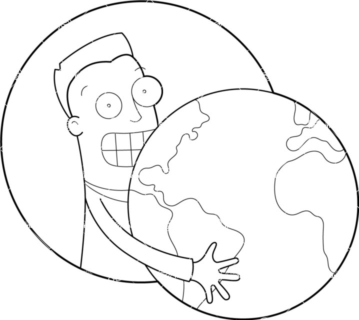 Vector Business Graphics - Mega Bundle - Man Holding Globe Outline