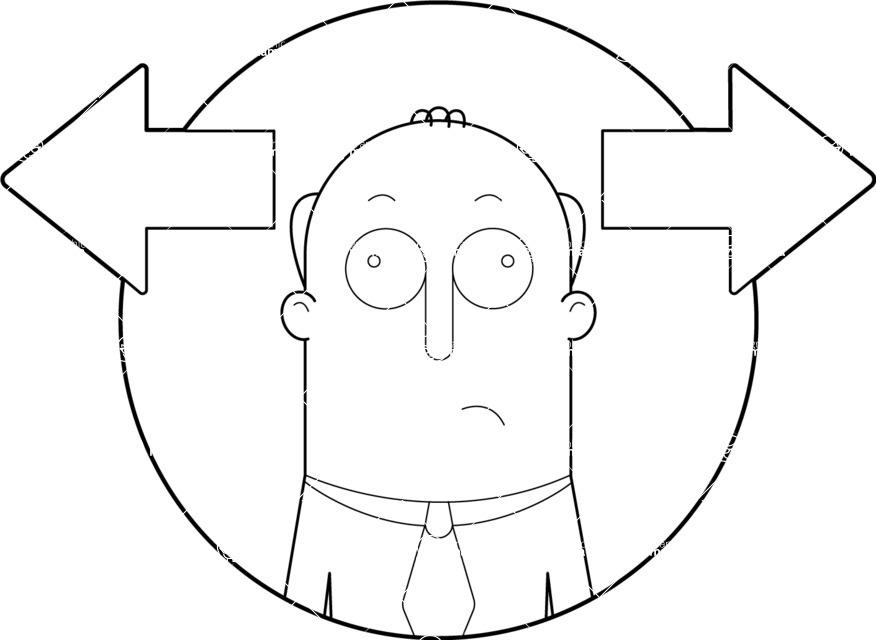 Vector Business Graphics - Mega Bundle - Confused Man Outline
