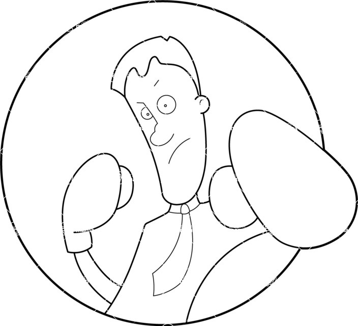 Vector Business Graphics - Mega Bundle - Outline Man Boxing Punch