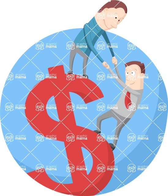 Vector Business Graphics - Mega Bundle - Businessmen on a Big Dollar Symbol