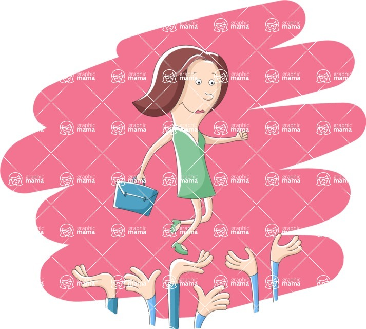 Vector Business Graphics - Mega Bundle - Woman Walking on a Crowd