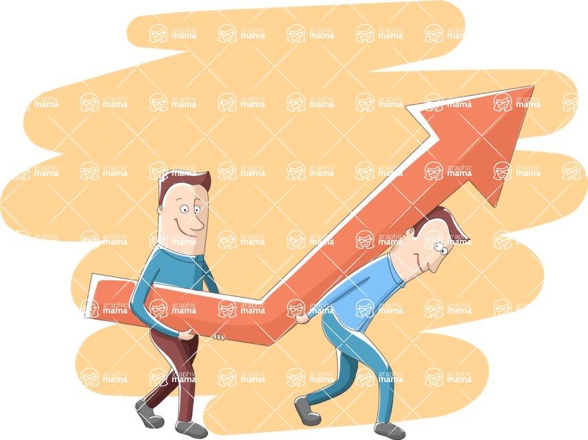 Vector Business Graphics - Mega Bundle - Businessmen With a Big Arrow