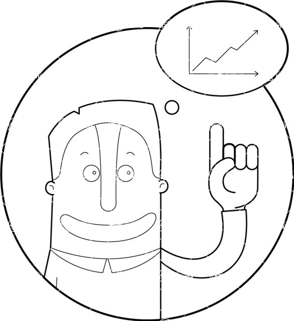 Vector Business Graphics - Mega Bundle - Outline Man Pointing at a Graph