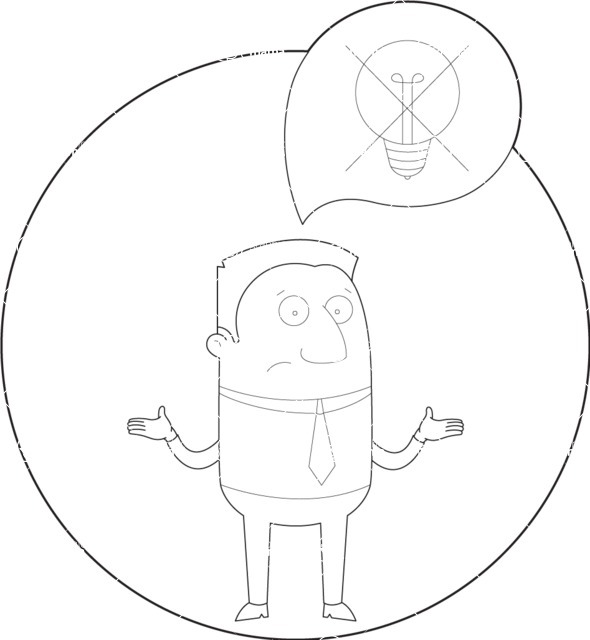 Vector Business Graphics - Mega Bundle - Confused Businessman with No Ideas Outline