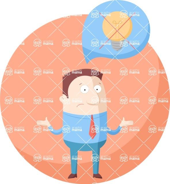 Vector Business Graphics - Mega Bundle - Confused Businessman with No Ideas Flat Illustration