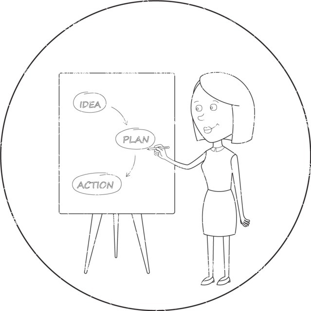 Vector Business Graphics - Mega Bundle - Outline Woman Presenting a Plan