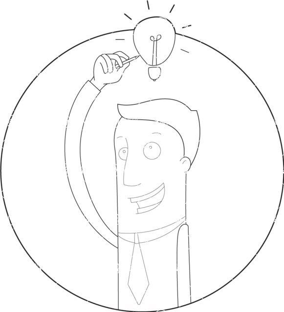 Vector Business Graphics - Mega Bundle - Outline Man Drawing an Idea