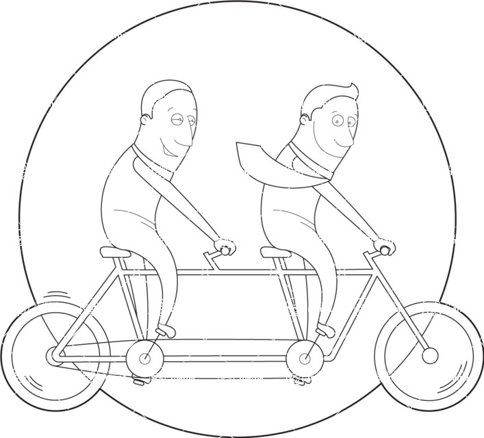 Vector Business Graphics - Mega Bundle - Businessmen Riding a Bike Outline