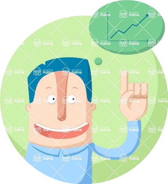 Vector Business Graphics - Mega Bundle - Man and a Graph Chart Flat Illustration
