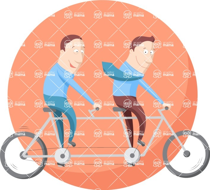 Vector Business Graphics - Mega Bundle - Businessmen on a Bike Flat Illustration