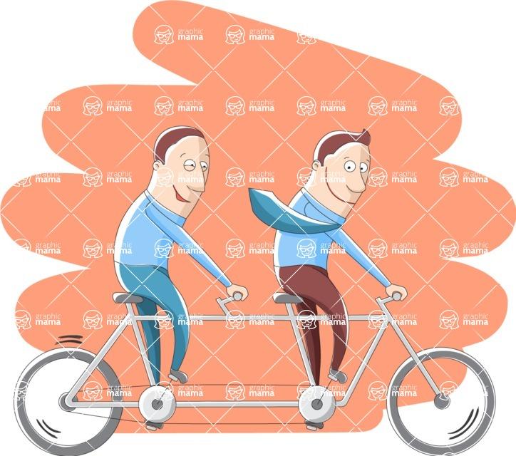 Vector Business Graphics - Mega Bundle - Businessmen on a Tandem Bike