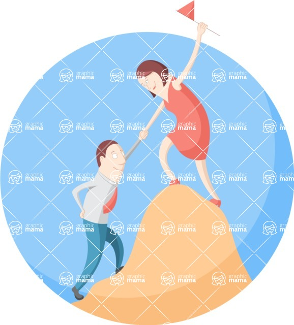 Vector Business Graphics - Mega Bundle - Climbing a Hill Flat Illustration