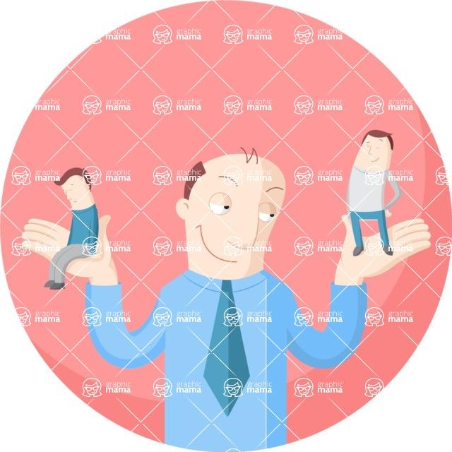Vector Business Graphics - Mega Bundle - Businessman Between Sad or Happy
