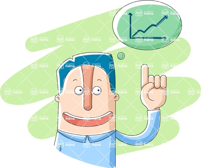 Vector Business Graphics - Mega Bundle - Happy Businessman and a Graph Chart