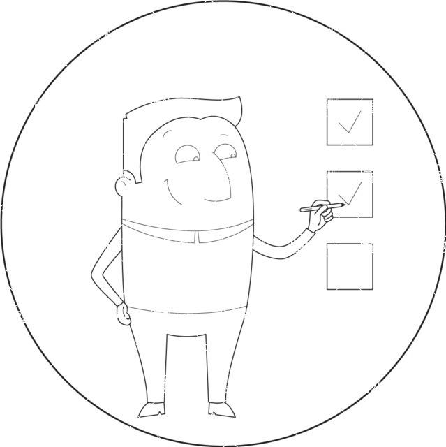 Vector Business Graphics - Mega Bundle - Outline Man Making Check Marks