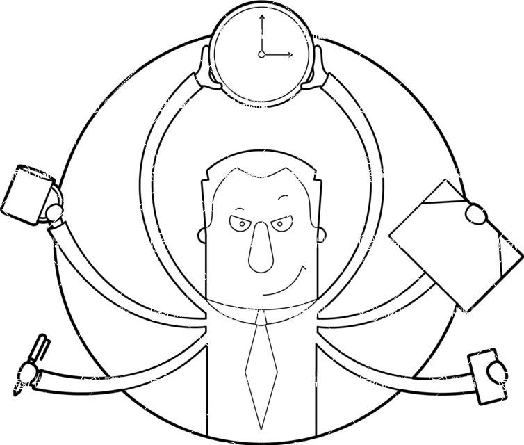 Vector Business Graphics - Mega Bundle - Outline Man Multitasking