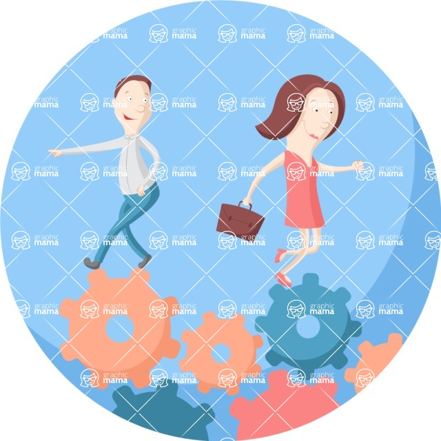Vector Business Graphics - Mega Bundle - Business People Walking on Cogwheels